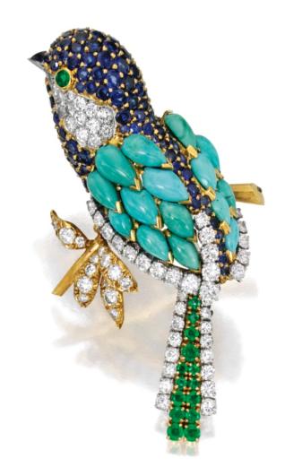 A bird brooch that once belonged to Estée Lauder. (Photo: Sotheby's)