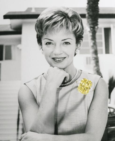 Mimi Walters Prentice's fancy yellow diamond ring. Est. $100,000-$150,000. (Photo: Sotheby's)