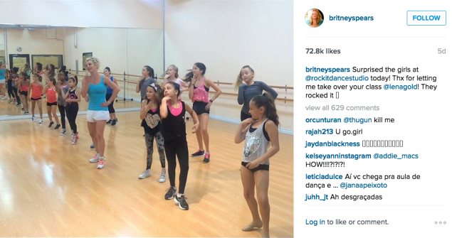 Britney Spears hit up a dance class. (Photo: Instagram/Britney Spears)
