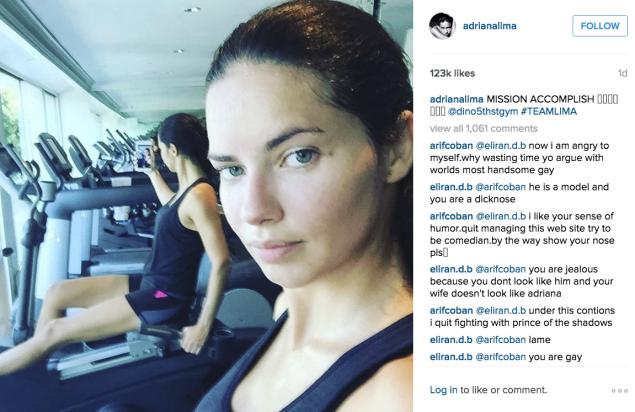 Adriana Lima used the recumbent stationary bike at the gym. (Photo: Instagram/Adriana Lima)