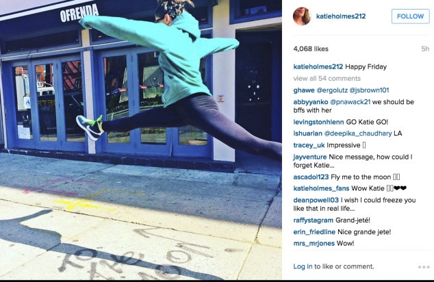 Katie Holmes jumped for joy. (Photo: Instagram/Katie Holmes)