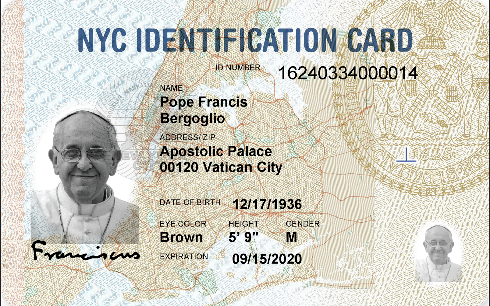 The pope's new ID.