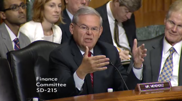 Menendez at Tuesday's hearing on economic development in Puerto Rico