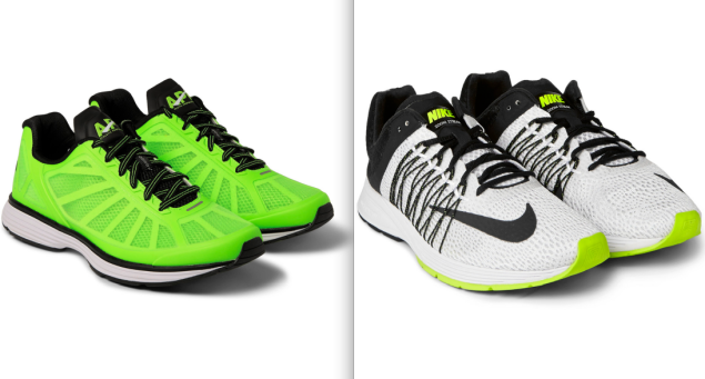 Left, Athletic Propulsion Labs Windchill Running Sneakers, $150, www.mrporter.com; Right, Nike Running Air Zoom 5 Streak Sneakers, $100, www.mrporter.com. (Photos: Mr Porter)