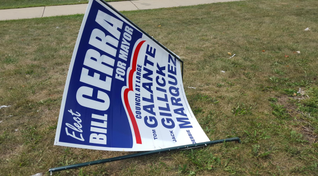 One of the damaged signs for candidate Bill Cerra