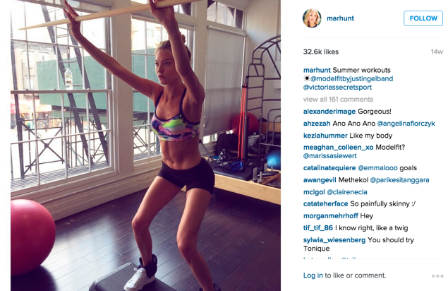 Martha Hunt also works out at modelFIT. (Photo: Instagram/Martha Hunt)
