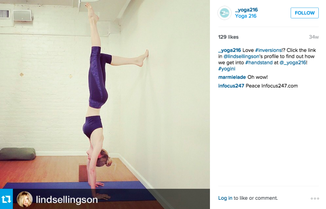 Lindsay Ellingson at Yoga 216. (Photo: Instagram/Lindsay Ellingson)
