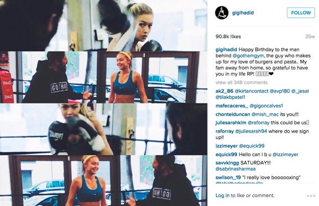 Gigi Hadid is a Gotham Gym regular. (Photo: Instagram/Gigi Hadid)