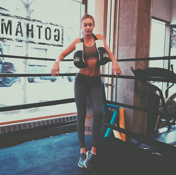 Gigi Hadid at her favorite boxing spot, Gotham Gym. (Photo: Instagram/Gigi Hadid)