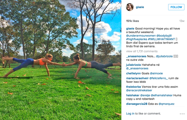 Gisele Bündchen and trainer Jill Payne rocking some planks. (Photo: Instagram/Gisele Bündchen)