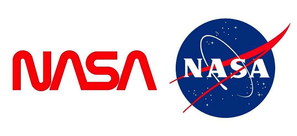 """NASA's """"worm"""" logo and its successor the """"meatball"""" (courtesy of NASA)"""