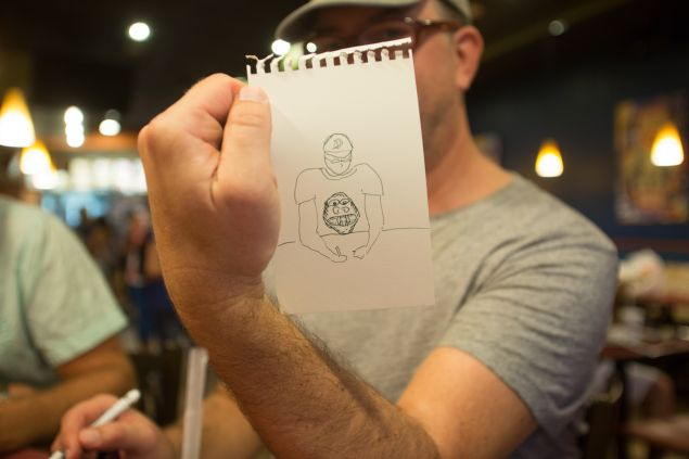 Steve Sanders' drawing of Mr. Polan at the Taco Bell Drawing Club visited by the Observer. (Photo: Aaron Adler for Observer)