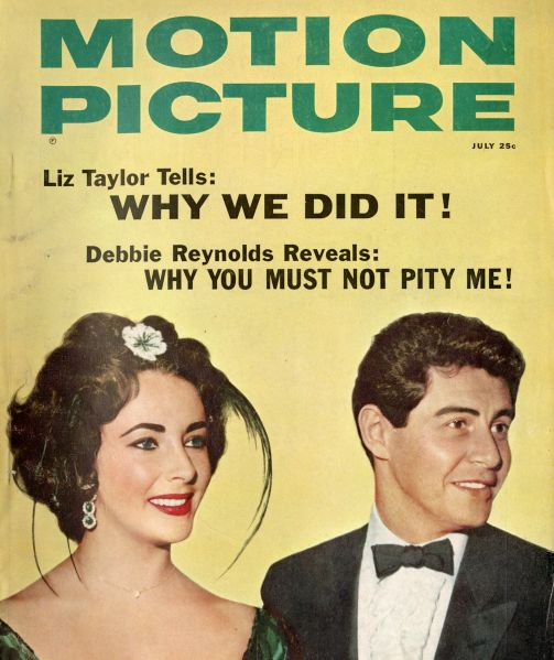 Elizabeth Taylor and Eddie Fisher, on the cover of Motion Picture magazine, July 1959. (Photo: The Jewish Museum)