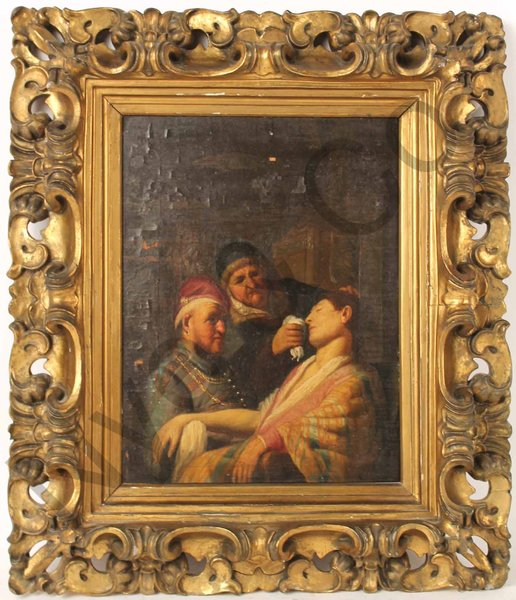 This oil painting on board, Triple Portrait with Lady Fainting, sold for $870,000 at Nye & Co. Auctioneers and is believed to be by Rembrandt.