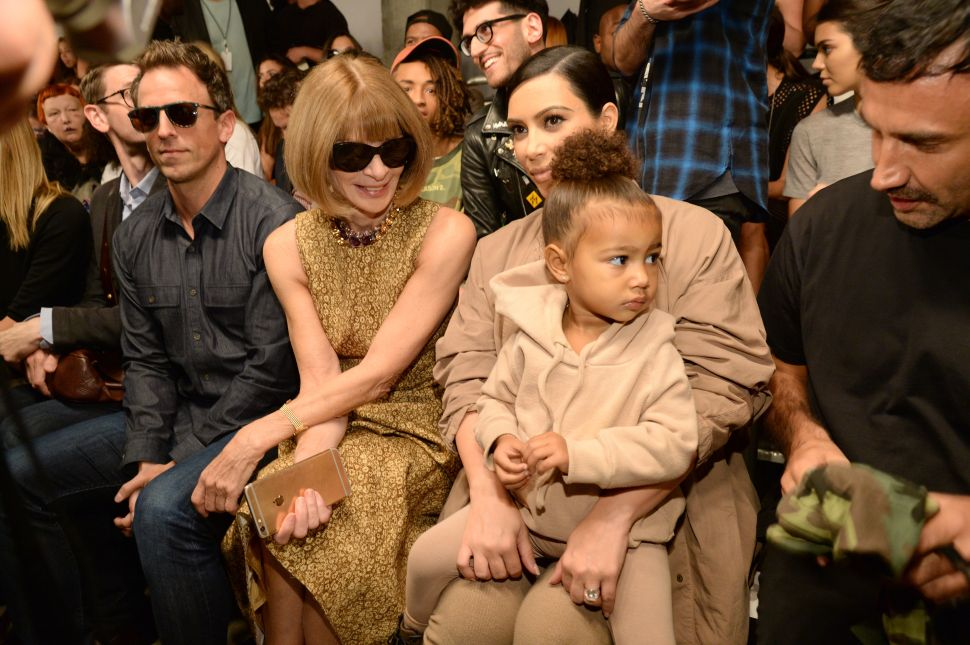 Seth Meyers, Anna Wintour, Kim Kardashian West and North West (Photo by Kevin Mazur/Getty Images for Kanye West Yeezy)