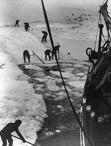 """""""Trying To Cut A Way For The Ship"""" by Frank Hurley (Wikimedia Commons)"""