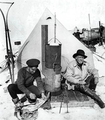 """""""Hurley, Shackleton at camp"""" by Unknown (Wikimedia Commons)"""