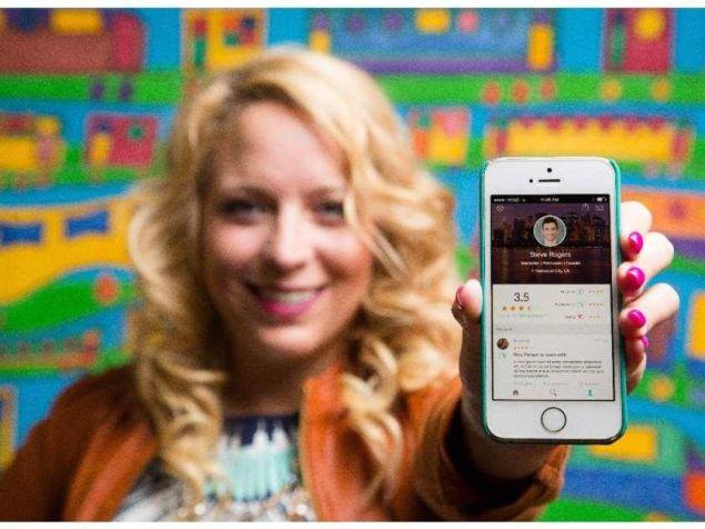 Peeple co-founder Julia Cordray displaying Peeple app. (Photo: Via Facebook/Peeple)