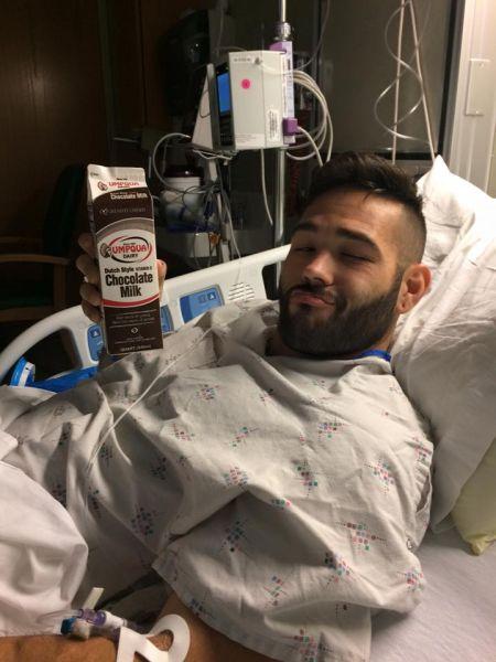 Chris Mintz recovering in an Oregon hospital bed. (Kivonna Coccia)