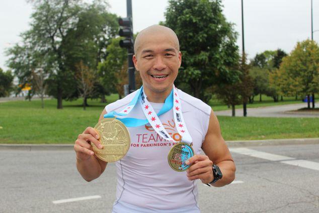 Mr. Choi after the 2015 Chicago Half-Marathon. (Photo: Courtesy of Michael J. Fox Foundation)