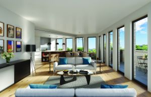 A rendering of a living room in the new development. (DXA Studio)