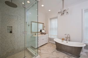 The bathrooms are done in all marble. (Juris Mardwig)