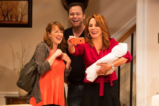 Kate Wetherhead, George Merrick and Marlo Thomas in Clever Little Lies. (Photo by Matthew Murphy)