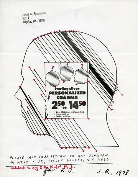 Jim Rosenquist and Elaine de Kooning Untitled mail art piece, c. 1980s