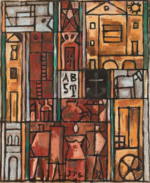 Joaquín Torres-García, Constructif avec quatre figures (Constructive with four figures), 1932. © Sucesión Joaquín Torres-García, Montevideo 2015. (Photo: Courtesy Pablo Almansa)