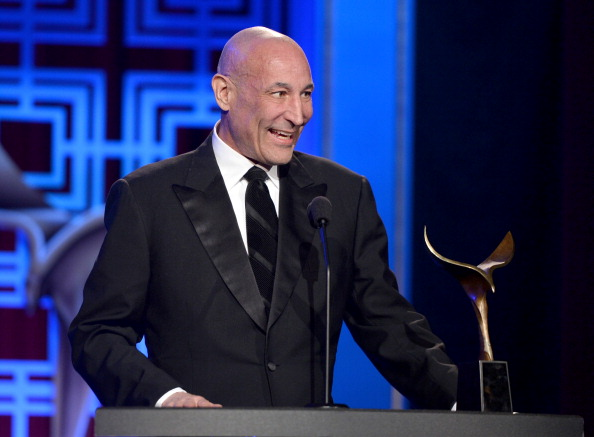 """LOS ANGELES, CA - FEBRUARY 01: Writer Sam Simon accepts the """"Valentine Davies Award for Humanitarian Efforts and Community Service"""" onstage at the 2014 Writers Guild Awards L.A. Ceremony at J.W. Marriott at L.A. Live on February 1, 2014 in Los Angeles, California. (Photo by Alberto E. Rodriguez/Getty Images for WGAw)"""