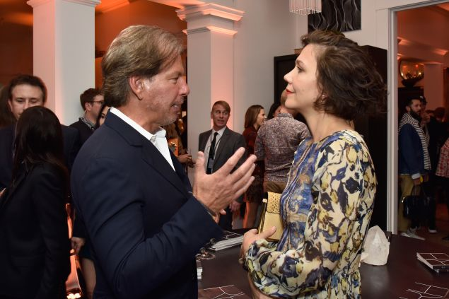 NEW YORK, NY - OCTOBER 22: Maggie Gyllenhaal and RH Chairman & CEO Gary Friedman at the unveiling of RH Modern at RH New York, The Gallery in the Historic Flatiron District on October 22, 2015 in New York City. (Photo by Eugene Gologursky/Getty Images for RH)