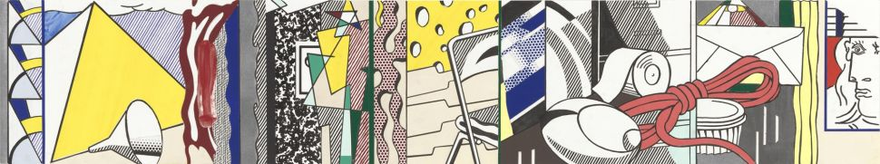 Roy Lichtenstein's Final study for Greene Street Mural, 1983 Cut-and-pasted printed and painted paper, india ink, gouache, pencil and synthetic polymer paint on paper 17 x 56 1/8 inches (43.2 x 143 cm) The Museum of Modern Art, New York, NY U.S.A. © Estate of Roy Lichtenstein. Digital Image © The Museum of Modern Art/Licensed by SCALA / Art Resource, NY. Courtesy Gagosian Gallery.