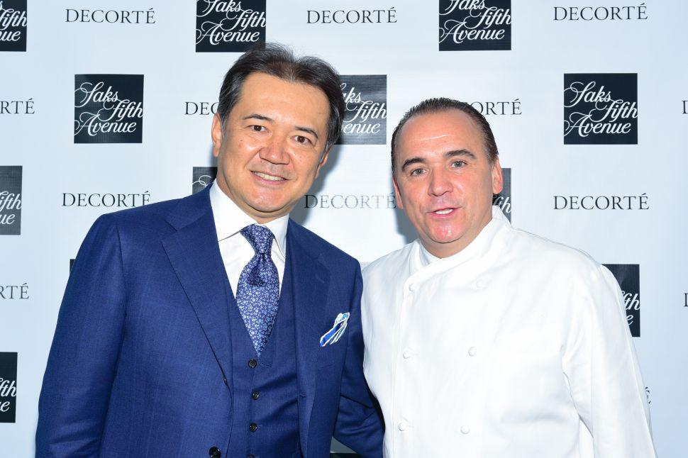 Decorté's Kazutoshi Kobayashi, Chef Jean-Georges Vongericheten (Photo: Sean Zanni for Patrick McMullan).