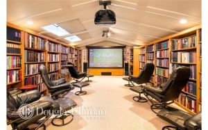 Here we have the fifth-floor library/media room. (Douglas Elliman)