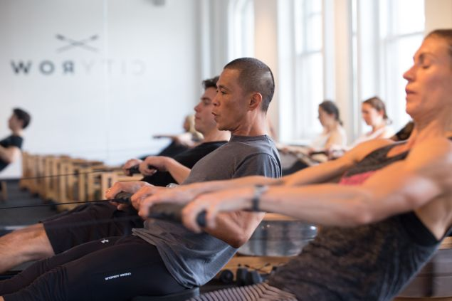 A class at CityRow. (Photo: Aaron Adler for Observer)