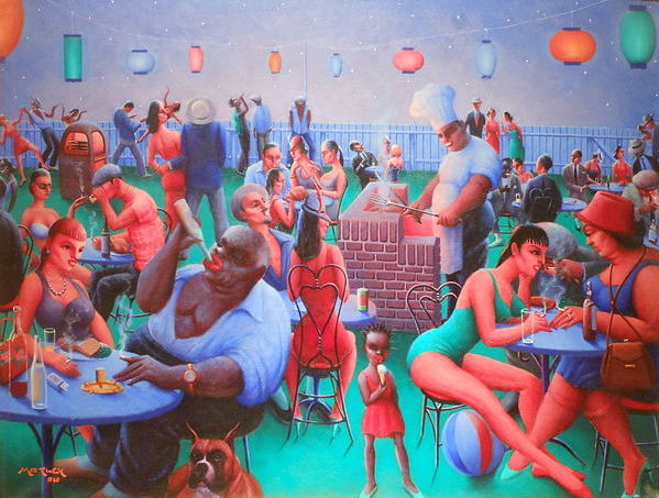 A late painting by Archibald Motley.
