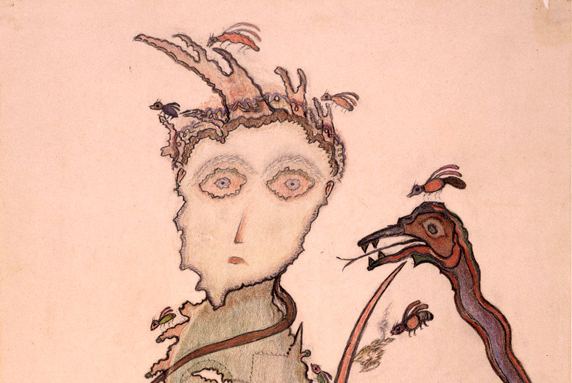 Heinrich Anton Muller (1869-1930), detail of drawing. Collection de l'Art Brut, Lausanne. Photo: Claude Bornand, Atelier de numérisation—Ville de Lausanne.