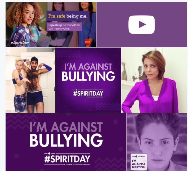 Brands both large and small, along with celebrities, went purple for Spirit Day. (Photo: Screenshot)
