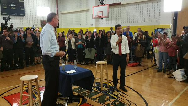 Councilman Ydanis Rodriguez, right, introduces Mayor Bill de Blasio, left.