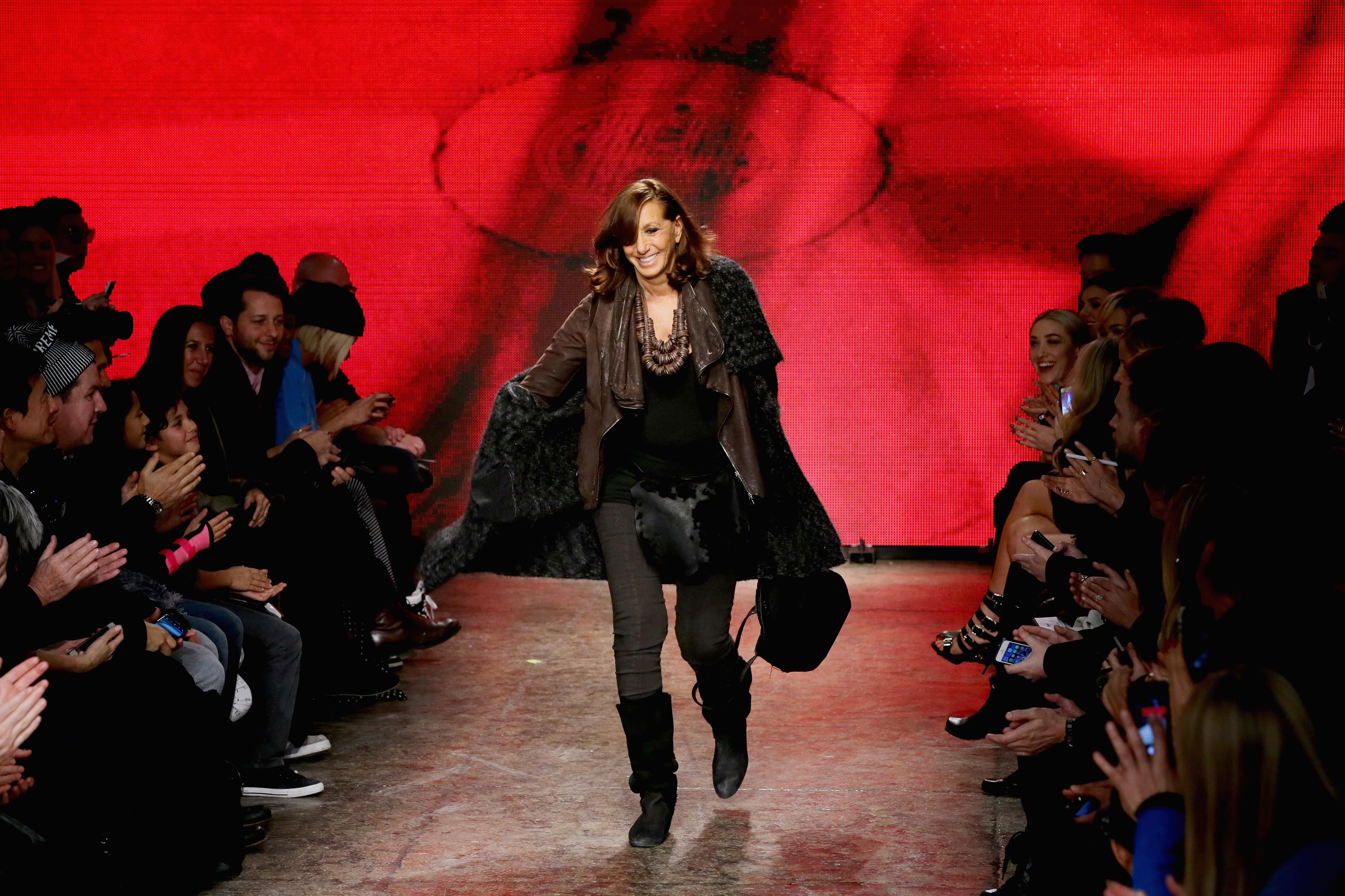 Donna Karan walks the runway at the DKNY Women's fashion show. (Photo: Neilson Barnard/Getty Images)