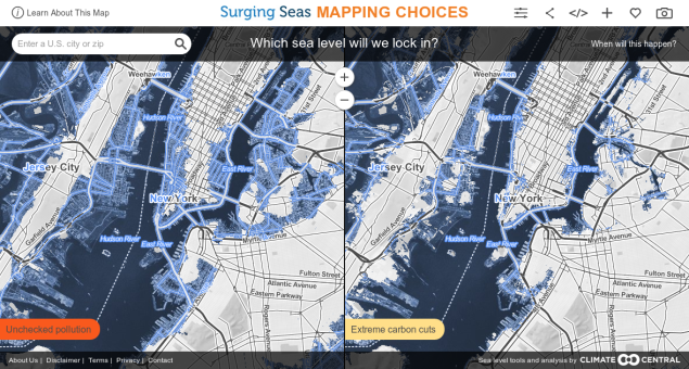 The Climate Central map shows where the city will be covered in water. (Image: Screenshot)