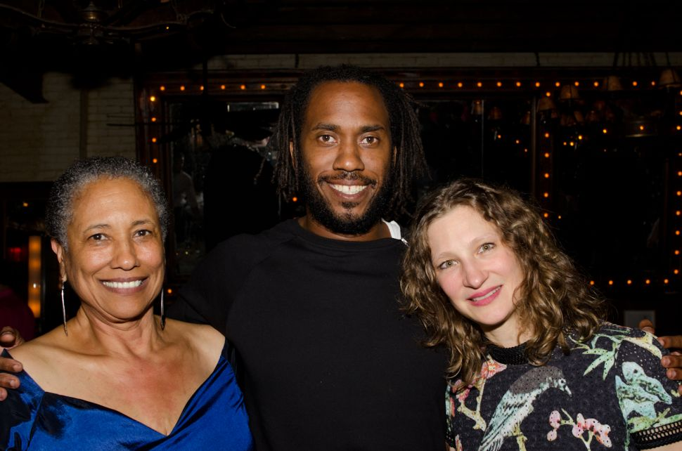 From left: The mother of the artist Cheryl Johnson-Odim, Rashid Johnson, and Drawing Center Senior Curator Claire Gilman.
