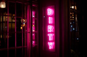 The neon sign at Dirty French on the Lower East Side.