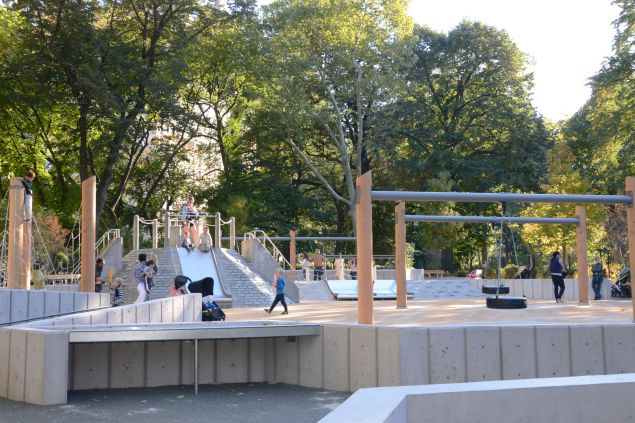 The newly renovated playground features tire swings. (Central Park Conservancy)