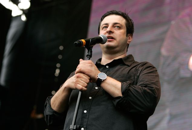 Eugene Mirman in Williamsburg, speaking to his coterie of hipster fans. (Getty Images)