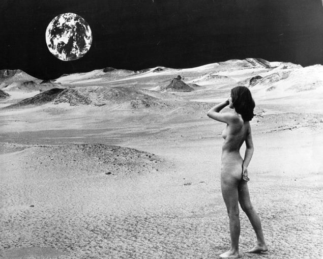1st July 1974: A lunar landscape with nude female model, Karin, looking back at the Earth. (Photo by H. Bruhn/Hulton Archive/Getty Images)