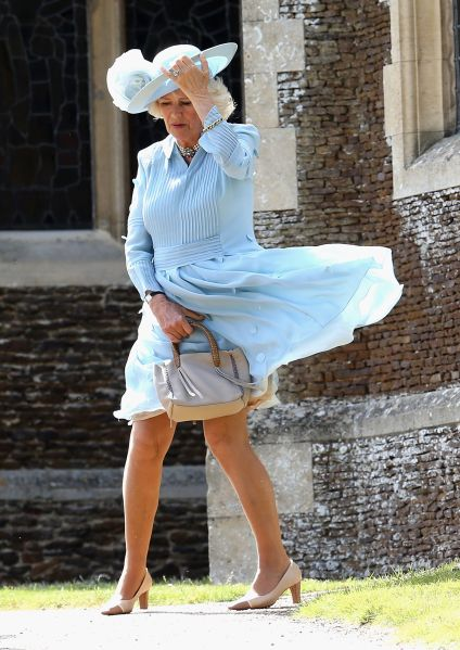 The Duchess of Cornwall battled the wind at Princess Charlotte's christening. (Photo: Chris Jackson - WPA Pool/Getty Images)