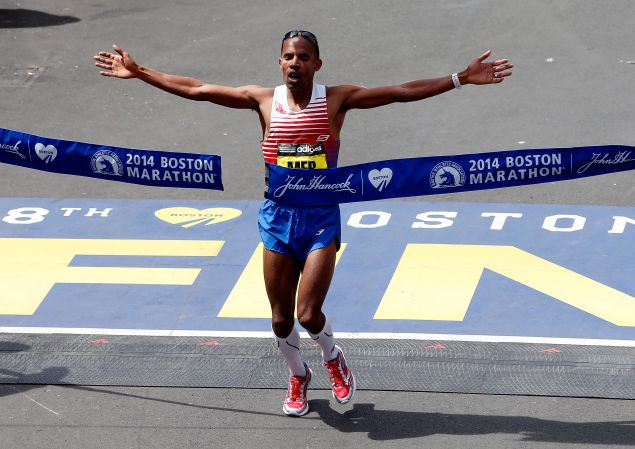 Meb Keflezighi crossing the finish line of the 118th Boston Marathon on April 21, 2014. (Photo: Jim Rogash/Getty Images)