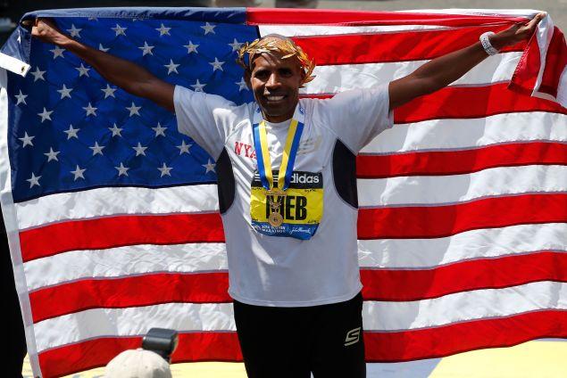 Meb Keflezighi celebrating his Boston Marathon win. (Photo: Jim Rogash/Getty Images)