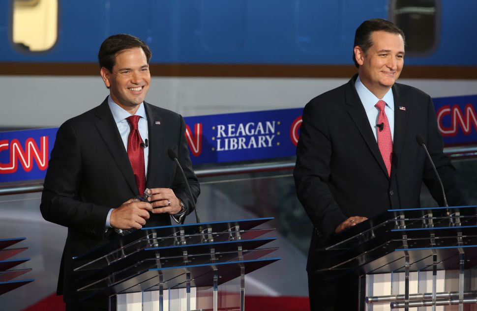 Republican presidential candidates Sen. Marco Rubio and Sen. Ted Cruz take part in the presidential debate at the Reagan Library in September (Photo: Justin Sullivan for Getty Images)
